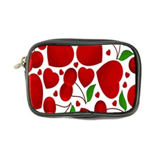 Cherry Fruit Red Love Heart Valentine Green Coin Purse