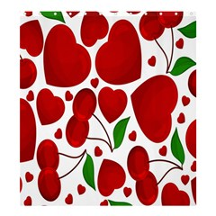 Cherry Fruit Red Love Heart Valentine Green Shower Curtain 66  X 72  (large)  by Alisyart