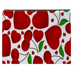 Cherry Fruit Red Love Heart Valentine Green Cosmetic Bag (xxxl)