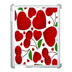 Cherry Fruit Red Love Heart Valentine Green Apple Ipad 3/4 Case (white)