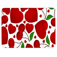 Cherry Fruit Red Love Heart Valentine Green Samsung Galaxy Tab 7  P1000 Flip Case