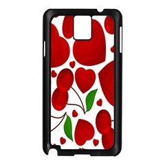 Cherry Fruit Red Love Heart Valentine Green Samsung Galaxy Note 3 N9005 Case (black) by Alisyart