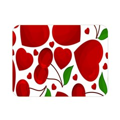 Cherry Fruit Red Love Heart Valentine Green Double Sided Flano Blanket (mini)