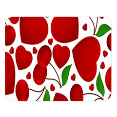 Cherry Fruit Red Love Heart Valentine Green Double Sided Flano Blanket (large)  by Alisyart