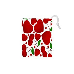Cherry Fruit Red Love Heart Valentine Green Drawstring Pouches (xs)