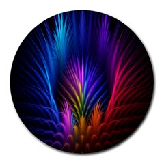 Bird Feathers Rainbow Color Pink Purple Blue Orange Gold Round Mousepads by Alisyart