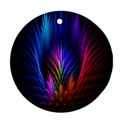 Bird Feathers Rainbow Color Pink Purple Blue Orange Gold Ornament (round)