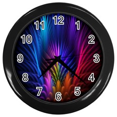 Bird Feathers Rainbow Color Pink Purple Blue Orange Gold Wall Clocks (black) by Alisyart