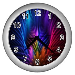 Bird Feathers Rainbow Color Pink Purple Blue Orange Gold Wall Clocks (silver)