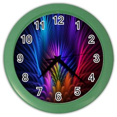 Bird Feathers Rainbow Color Pink Purple Blue Orange Gold Color Wall Clocks by Alisyart