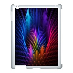 Bird Feathers Rainbow Color Pink Purple Blue Orange Gold Apple Ipad 3/4 Case (white)