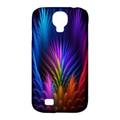 Bird Feathers Rainbow Color Pink Purple Blue Orange Gold Samsung Galaxy S4 Classic Hardshell Case (pc+silicone)