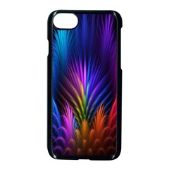 Bird Feathers Rainbow Color Pink Purple Blue Orange Gold Apple Iphone 7 Seamless Case (black)