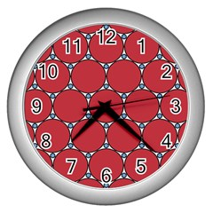 Circle Red Purple Wall Clocks (silver)  by Alisyart