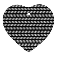 Black White Line Fabric Ornament (heart)