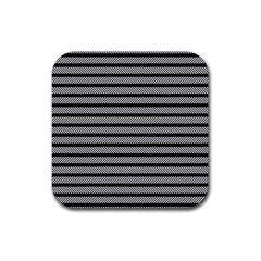 Black White Line Fabric Rubber Coaster (square)  by Alisyart