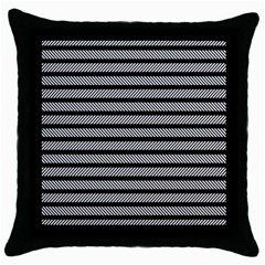 Black White Line Fabric Throw Pillow Case (black) by Alisyart