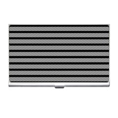 Black White Line Fabric Business Card Holders