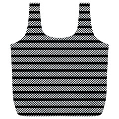 Black White Line Fabric Full Print Recycle Bags (l)  by Alisyart