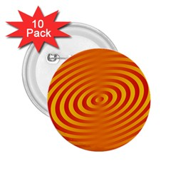 Circle Line Orange Hole Hypnotism 2 25  Buttons (10 Pack)  by Alisyart