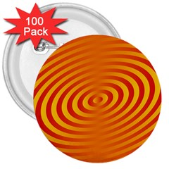 Circle Line Orange Hole Hypnotism 3  Buttons (100 Pack)