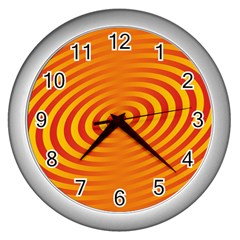 Circle Line Orange Hole Hypnotism Wall Clocks (silver)