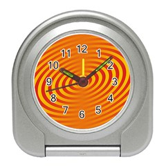 Circle Line Orange Hole Hypnotism Travel Alarm Clocks by Alisyart