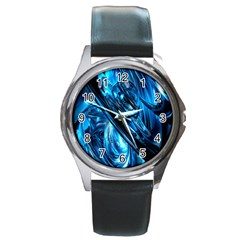 Blue Wave Round Metal Watch