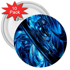 Blue Wave 3  Buttons (10 Pack)
