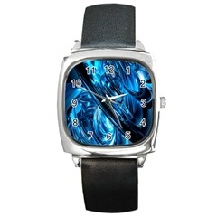 Blue Wave Square Metal Watch