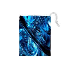 Blue Wave Drawstring Pouches (small)  by Alisyart