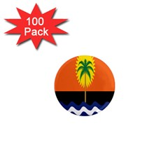 Coconut Tree Wave Water Sun Sea Orange Blue White Yellow Green 1  Mini Magnets (100 Pack)