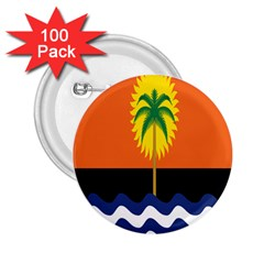 Coconut Tree Wave Water Sun Sea Orange Blue White Yellow Green 2 25  Buttons (100 Pack)  by Alisyart