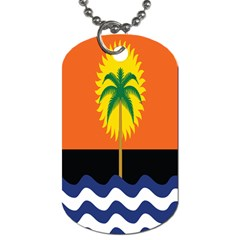Coconut Tree Wave Water Sun Sea Orange Blue White Yellow Green Dog Tag (two Sides) by Alisyart