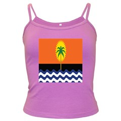 Coconut Tree Wave Water Sun Sea Orange Blue White Yellow Green Dark Spaghetti Tank