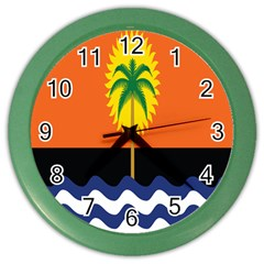 Coconut Tree Wave Water Sun Sea Orange Blue White Yellow Green Color Wall Clocks by Alisyart
