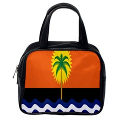 Coconut Tree Wave Water Sun Sea Orange Blue White Yellow Green Classic Handbags (one Side)