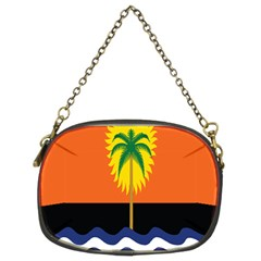 Coconut Tree Wave Water Sun Sea Orange Blue White Yellow Green Chain Purses (two Sides)