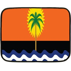 Coconut Tree Wave Water Sun Sea Orange Blue White Yellow Green Double Sided Fleece Blanket (mini)  by Alisyart