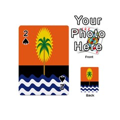 Coconut Tree Wave Water Sun Sea Orange Blue White Yellow Green Playing Cards 54 (mini)  by Alisyart