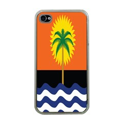 Coconut Tree Wave Water Sun Sea Orange Blue White Yellow Green Apple Iphone 4 Case (clear) by Alisyart