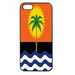 Coconut Tree Wave Water Sun Sea Orange Blue White Yellow Green Apple Iphone 5 Seamless Case (black)