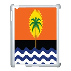 Coconut Tree Wave Water Sun Sea Orange Blue White Yellow Green Apple Ipad 3/4 Case (white)
