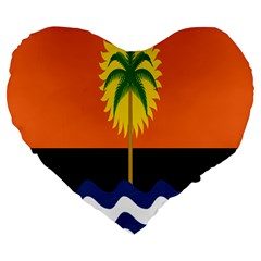 Coconut Tree Wave Water Sun Sea Orange Blue White Yellow Green Large 19  Premium Heart Shape Cushions by Alisyart