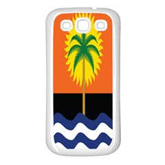 Coconut Tree Wave Water Sun Sea Orange Blue White Yellow Green Samsung Galaxy S3 Back Case (white) by Alisyart