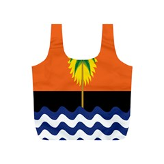 Coconut Tree Wave Water Sun Sea Orange Blue White Yellow Green Full Print Recycle Bags (s)  by Alisyart