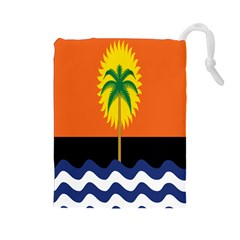 Coconut Tree Wave Water Sun Sea Orange Blue White Yellow Green Drawstring Pouches (large)  by Alisyart