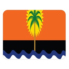Coconut Tree Wave Water Sun Sea Orange Blue White Yellow Green Double Sided Flano Blanket (large)  by Alisyart