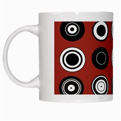 Circles Red Black White White Mugs