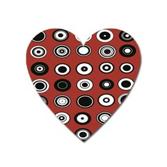 Circles Red Black White Heart Magnet by Alisyart